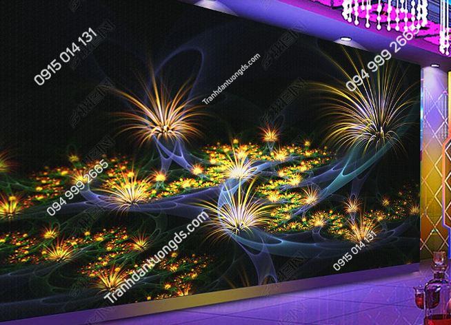 Tranh họa tiết hoa 3D cho quán bar karaoke DS_17345328