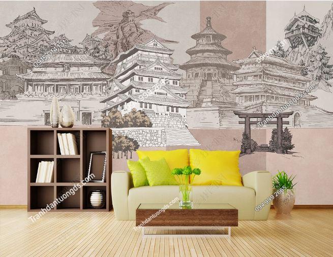 Tranh họa tiết lâu đài Nhật Bản DS_17798308