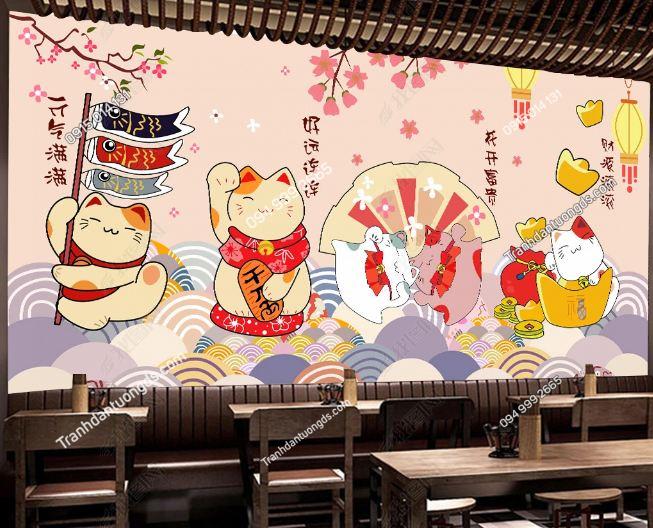 Tranh họa tiết mèo thần tài Nhật Bản DS_17580605