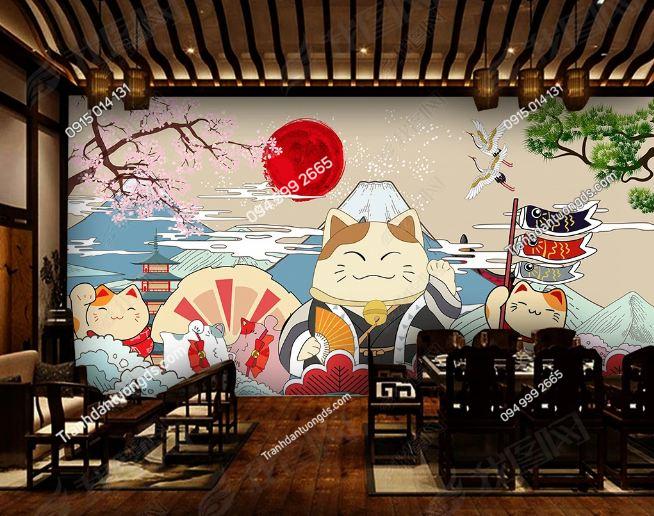Tranh họa tiết mèo thần tài Nhật Bản DS_18772883