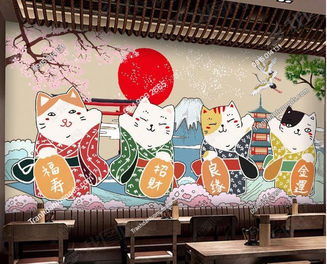Tranh họa tiết mèo thần tài Nhật Bản DS_18772888