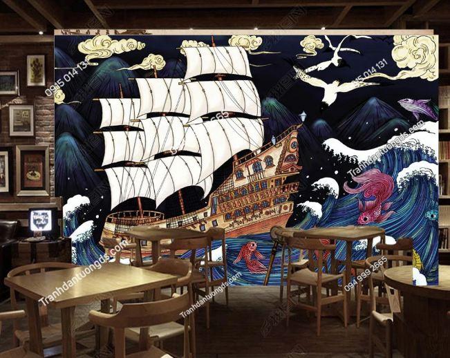 Tranh họa tiết thuyền buồm Nhật Bản DS_19204160