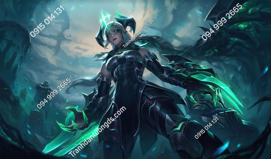 Tranh in vải lụa dán phòng game ruined-shyvana-league-of-legends