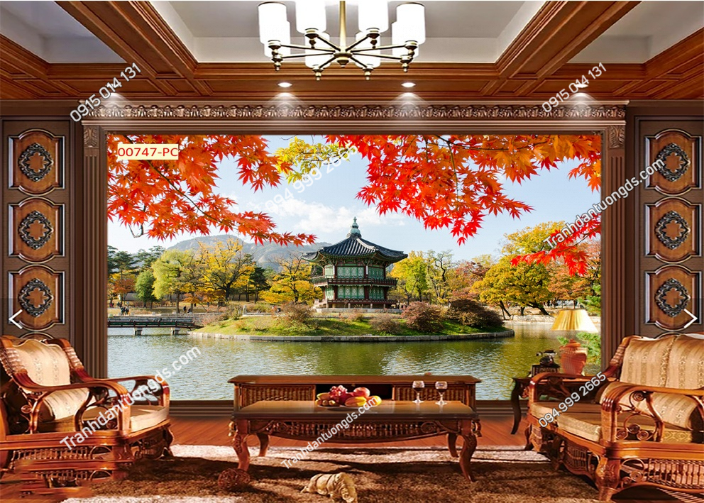 Tranh lá đỏ ven hồ Nhật bản 00747