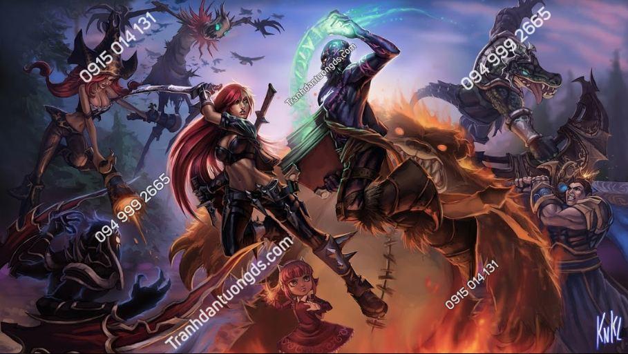 Tranh lụa dán tường quán game league-of-legends-fantasy-artwork