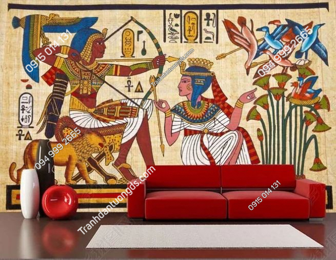 Tranh phong cách ai cập dán sau sofa DS_12609587