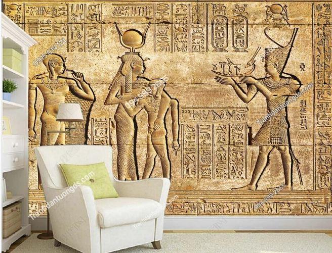 Tranh phong cách ai cập dán tường phòng khách DS_14980529