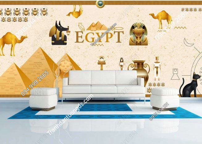 Tranh phong cách ai cập dán tường phòng khách DS_15453199