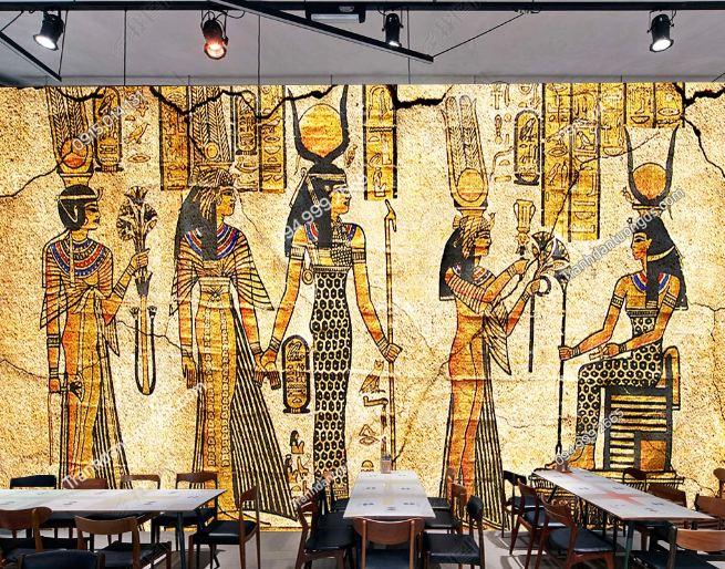 Tranh phong cách ai cập dán tường quán ăn - cafe DS_17301662