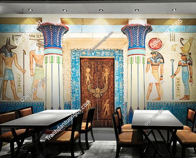 Tranh phong cách ai cập dán tường quán ăn - cafe DS_17569003