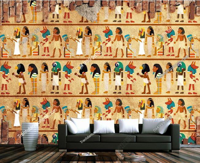 Tranh phong cách ai cập dán tường sau sofa DS_15062717