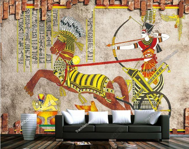 Tranh phong cách ai cập dán tường sau sofa DS_15069676