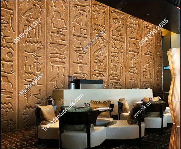 Tranh phong cách ai cập dán tường sau sofa DS_15145403