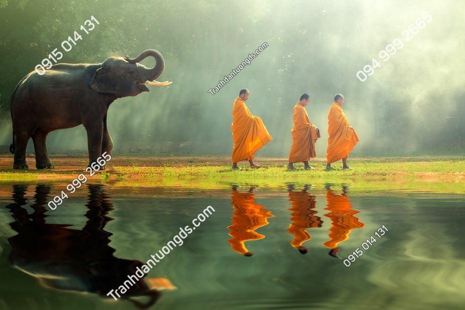 Tranh sư thầy và voi thái lan 382198903