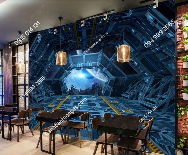 Tranh tàu vũ trụ 3D cho quán bar karaoke DS_16286872