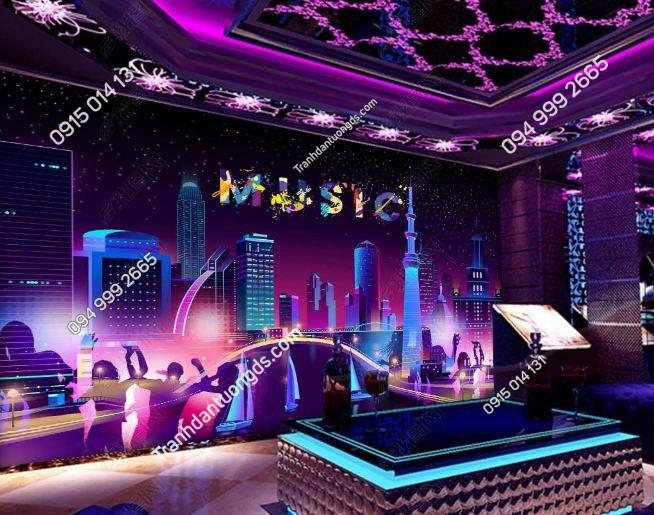 Tranh thành phố music cho quán bar karaoke DS_19169307