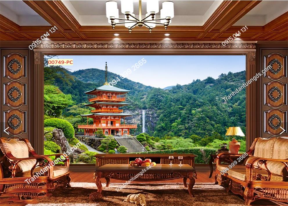 Tranh tường chùa trên núi Nhật bản 00749