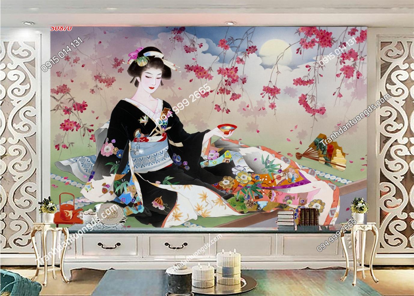 Tranh tường cô gái Nhật mặc Kimono 50870