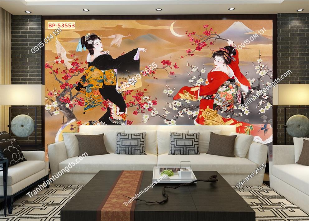 Tranh tường cô gái Nhật mặc Kimono 53553