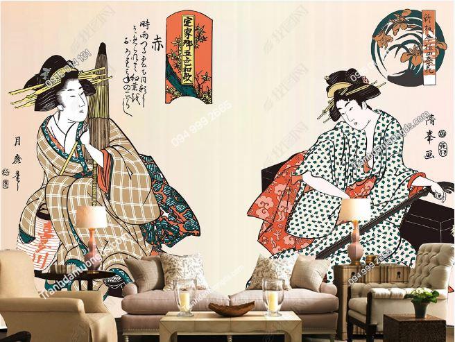Tranh tường cô gái Nhật mặc Kimono DS_15006201