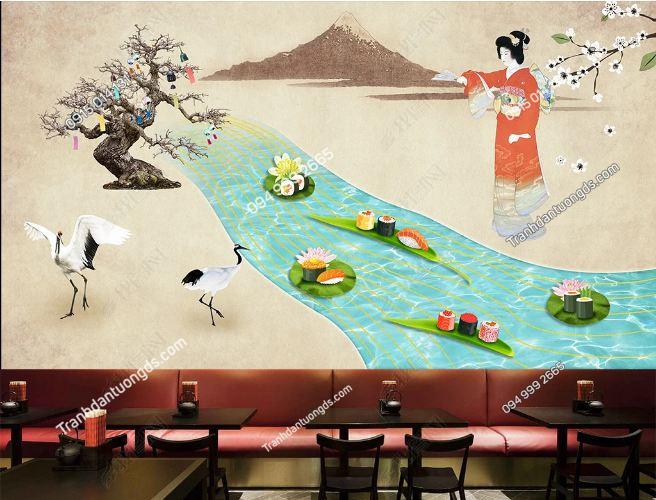 Tranh tường cô gái Nhật mặc Kimono bên suối DS_16942671
