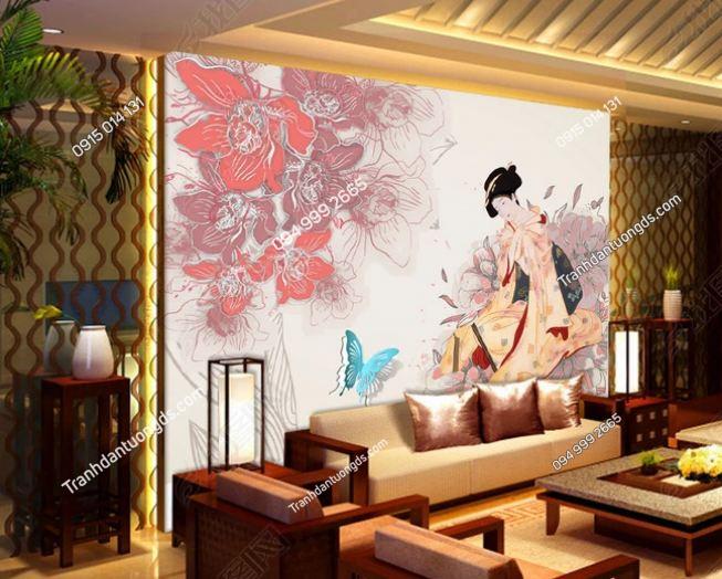 Tranh tường cô gái Nhật mặc Kimono dán phòng khách DS_12822891