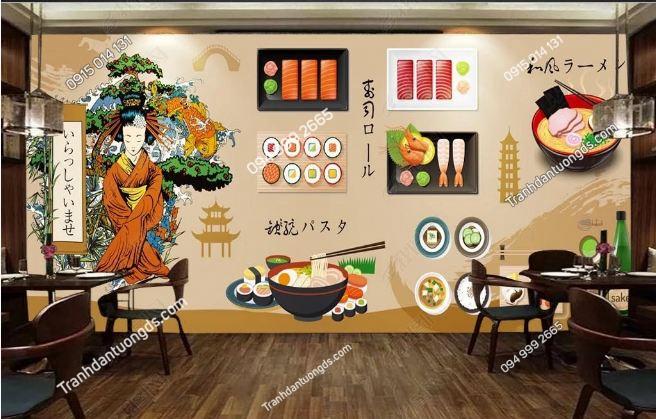 Tranh tường cô gái Nhật mặc Kimono dán quán ăn DS_15113847