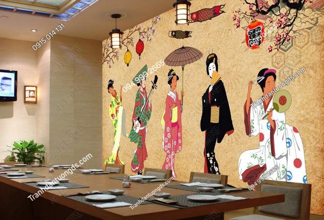 Tranh tường cô gái Nhật mặc Kimono dán quán ăn DS_16962262