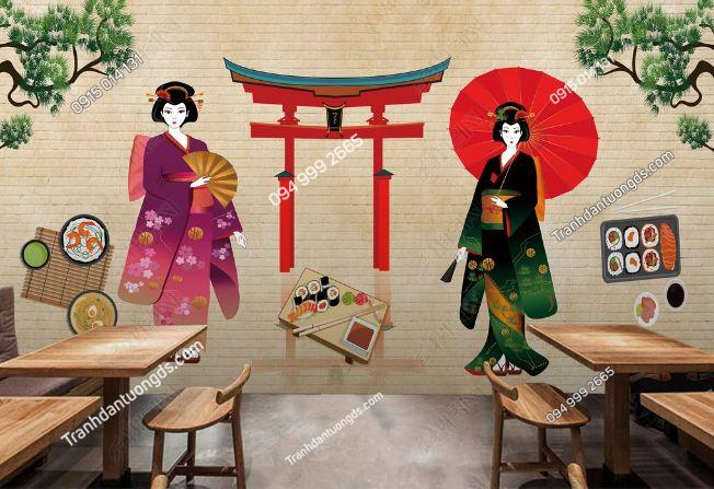 Tranh tường cô gái Nhật mặc Kimono dán quán ăn DS_17111674