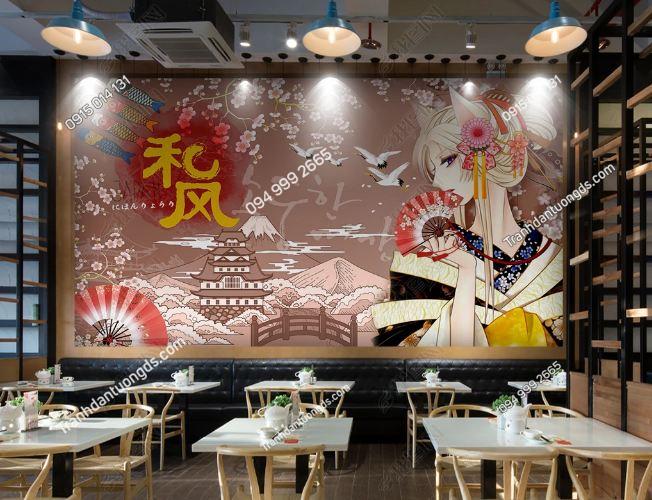Tranh tường cô gái Nhật mặc Kimono dán quán ăn DS_17649831