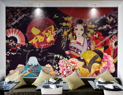 Tranh tường cô gái Nhật mặc Kimono dán quán cafe DS_17620773