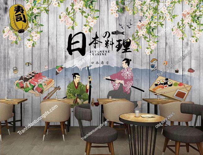 Tranh tường cô gái Nhật mặc Kimono dán quán cafe trà sữa DS_17047790