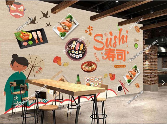 Tranh tường cô gái Nhật mặc Kimono dán quán lẩu DS_16419726