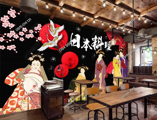 Tranh tường cô gái Nhật mặc Kimono dán quán lẩu nướng DS_16929347