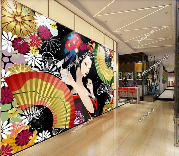 Tranh tường cô gái Nhật mặc Kimono dán sảnh thương mại DS_17092293