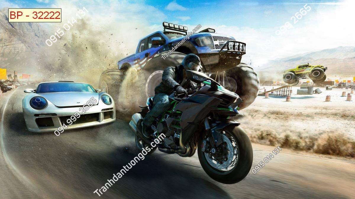 Tranh tường đua moto dán phòng game internet