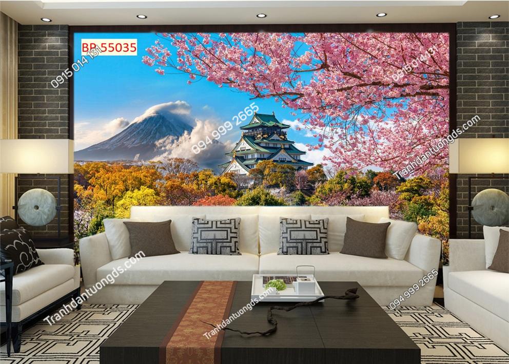 Tranh tường hoa anh đào Nhật Bản 55035