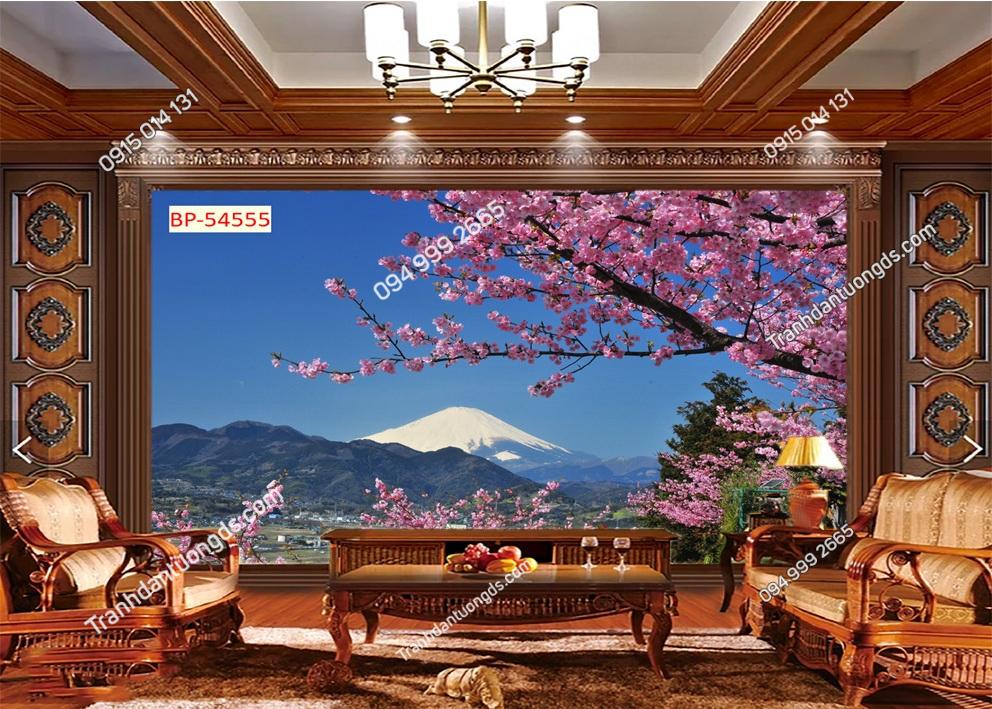 Tranh tường hoa anh đào Nhật Bản dán phòng khách 54555