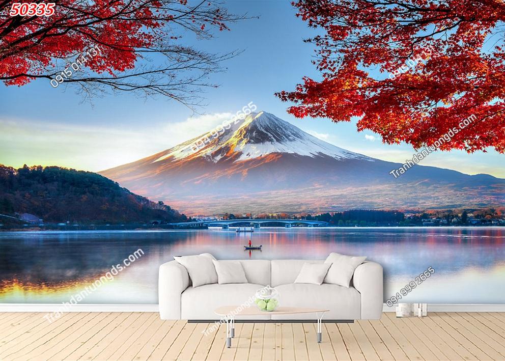 Tranh tường lá đỏ Nhật Bản 50335