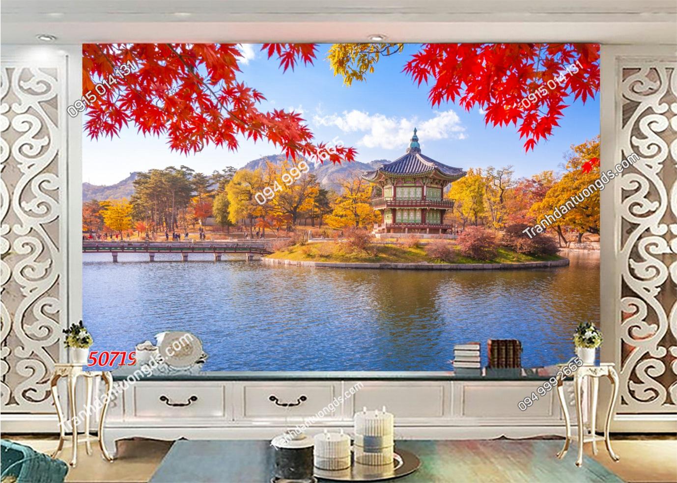 Tranh tường lá đỏ Nhật Bản 50719