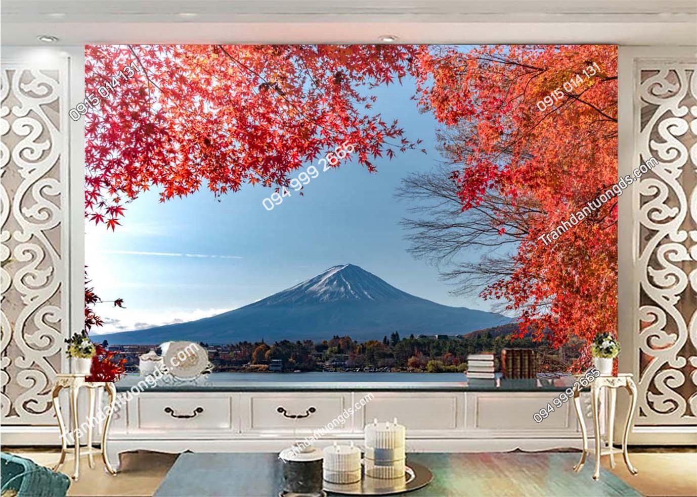 Tranh tường lá đỏ Nhật Bản -DAOMAI9