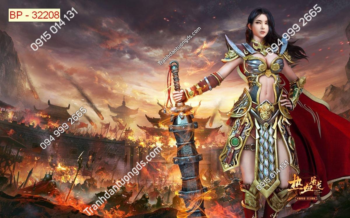 Tranh tường nữ chiến binh dán phòng game internet 32208