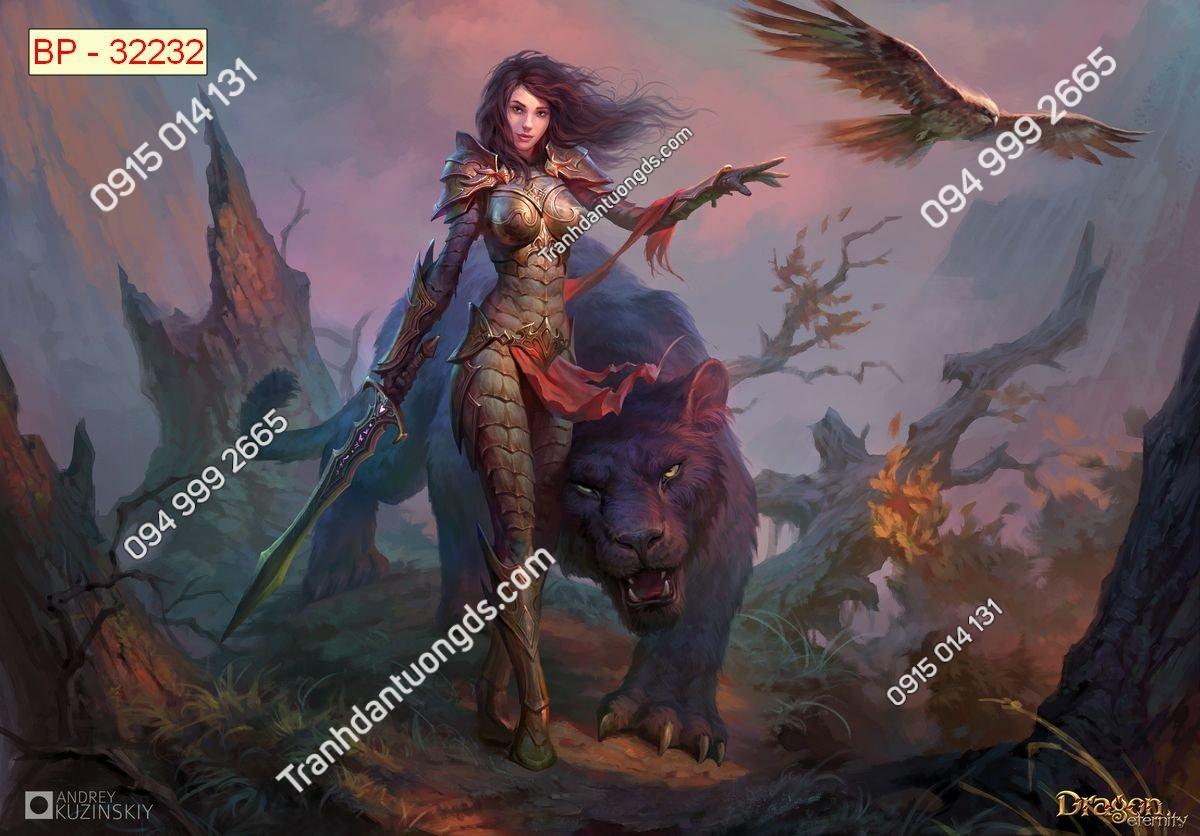 Tranh tường nữ chiến binh dán phòng game internet 32232