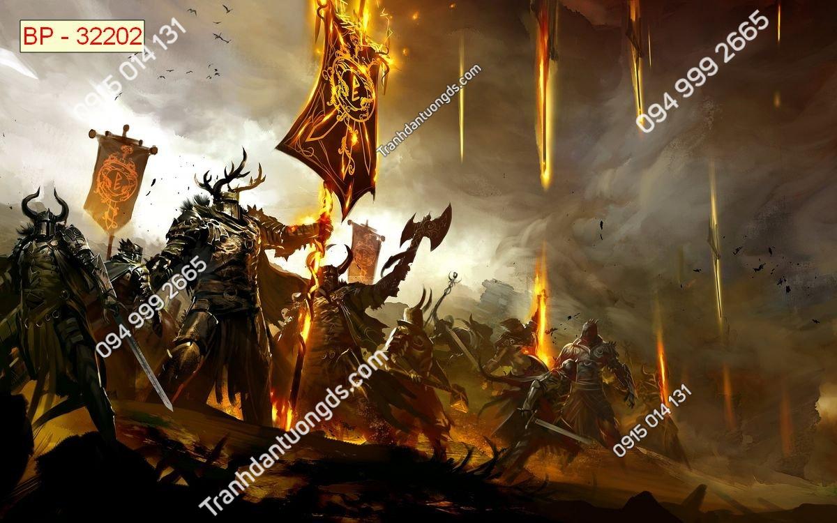 Tranh tường quái vật dán phòng game internet 32202