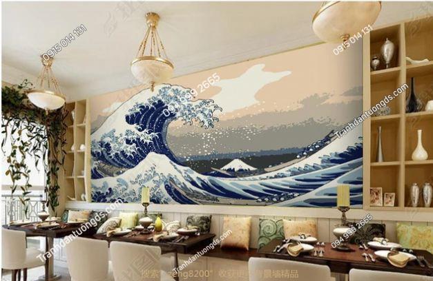Tranh tường sóng biển kiểu Nhật Bản DS_13245874