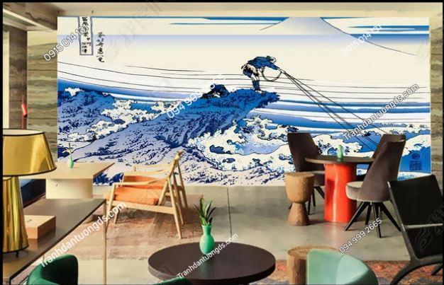 Tranh tường sóng biển kiểu Nhật Bản DS_14079596