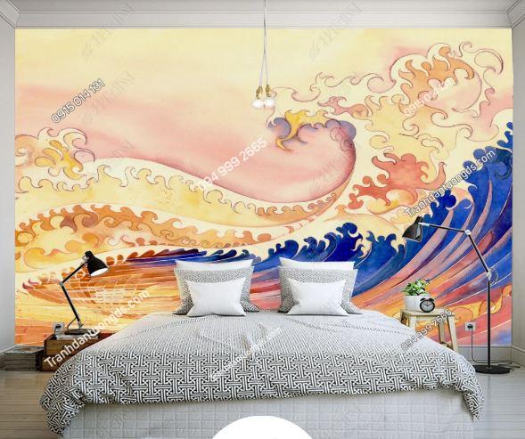 Tranh tường sóng biển kiểu Nhật Bản DS_15275226