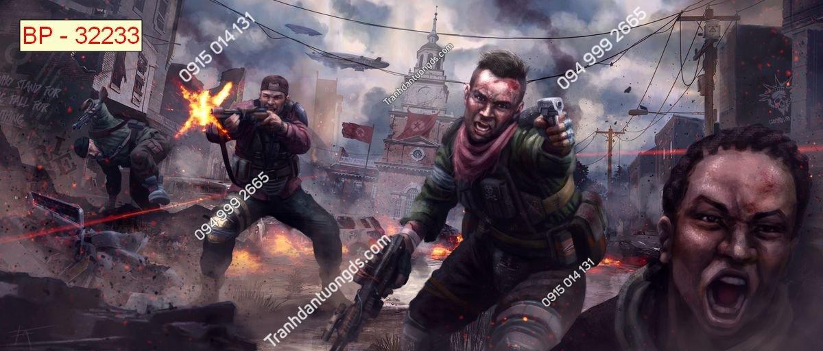 Tranh tường tay súng bắn zombi dán phòng game internet