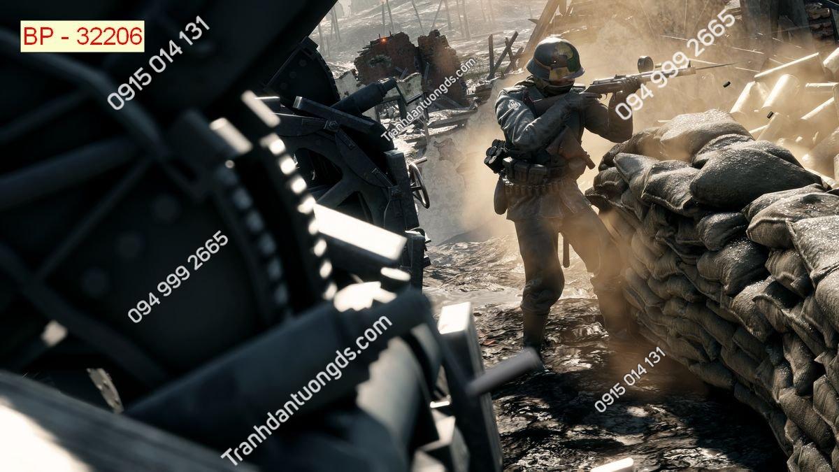Tranh tường tay súng dán phòng game internet 32206