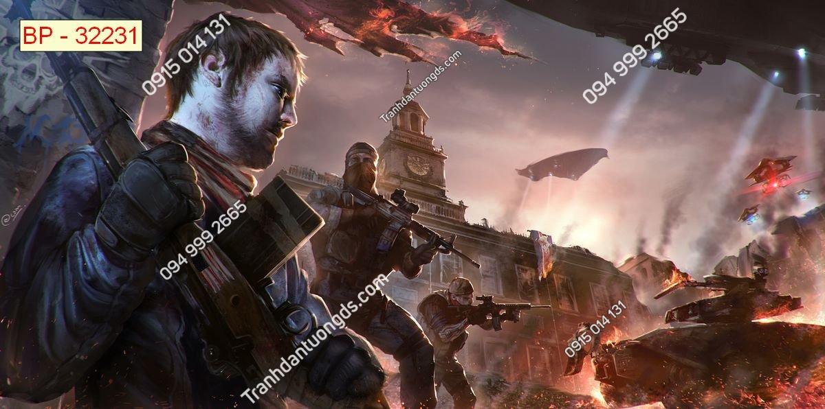Tranh tường tay súng dán phòng game internet 32231